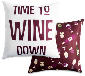 "Wine Down by Late Night Last Call - 14"" x 14"" Pillow"