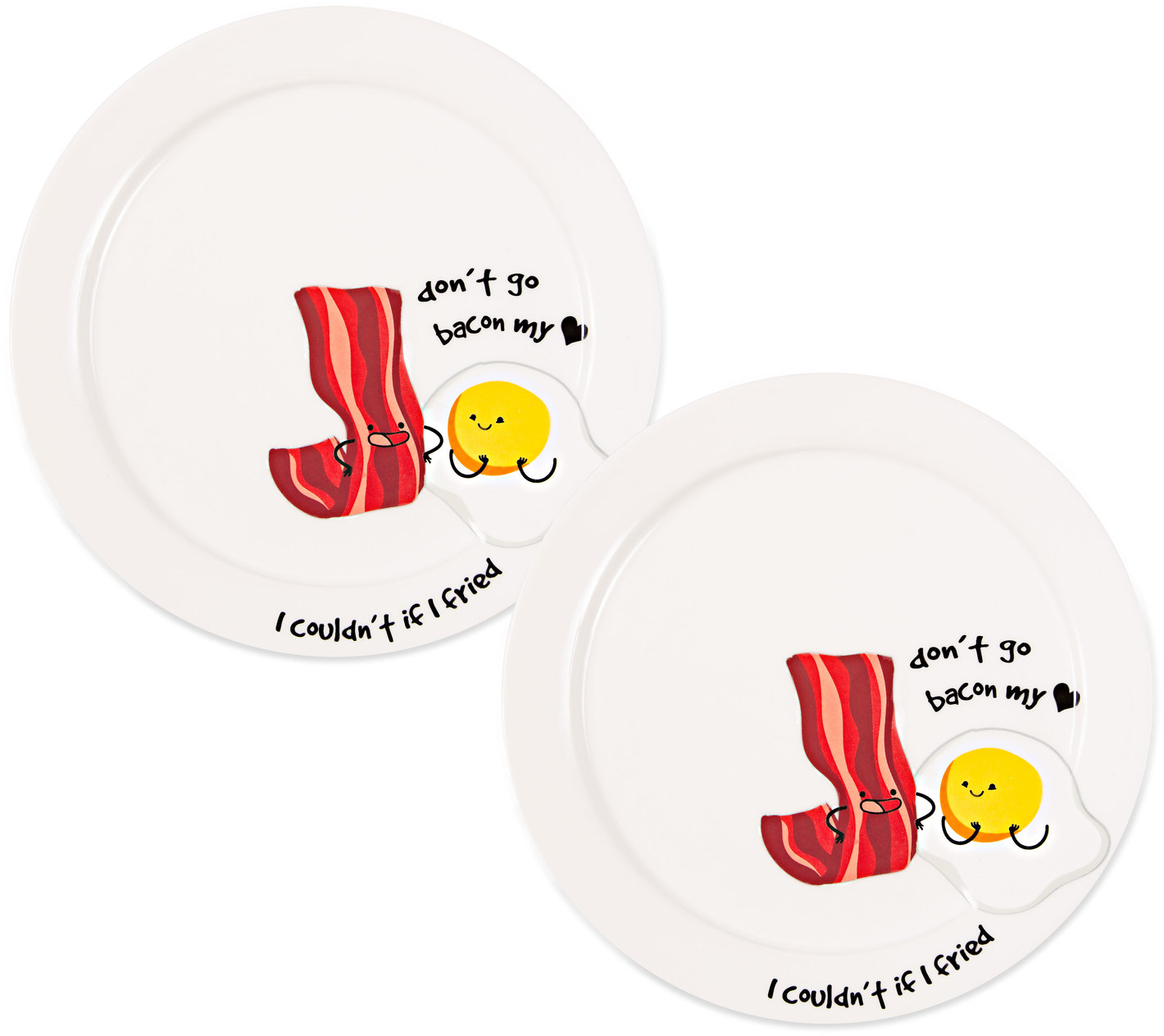 "Bacon My Heart  by Late Night Snacks - Bacon My Heart  - 7"" Appetizer Plates (Set of 2)"