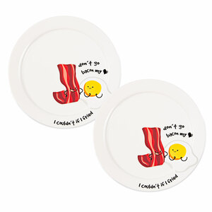 "Bacon My Heart  by Late Night Snacks - 7"" Appetizer Plates (Set of 2)"