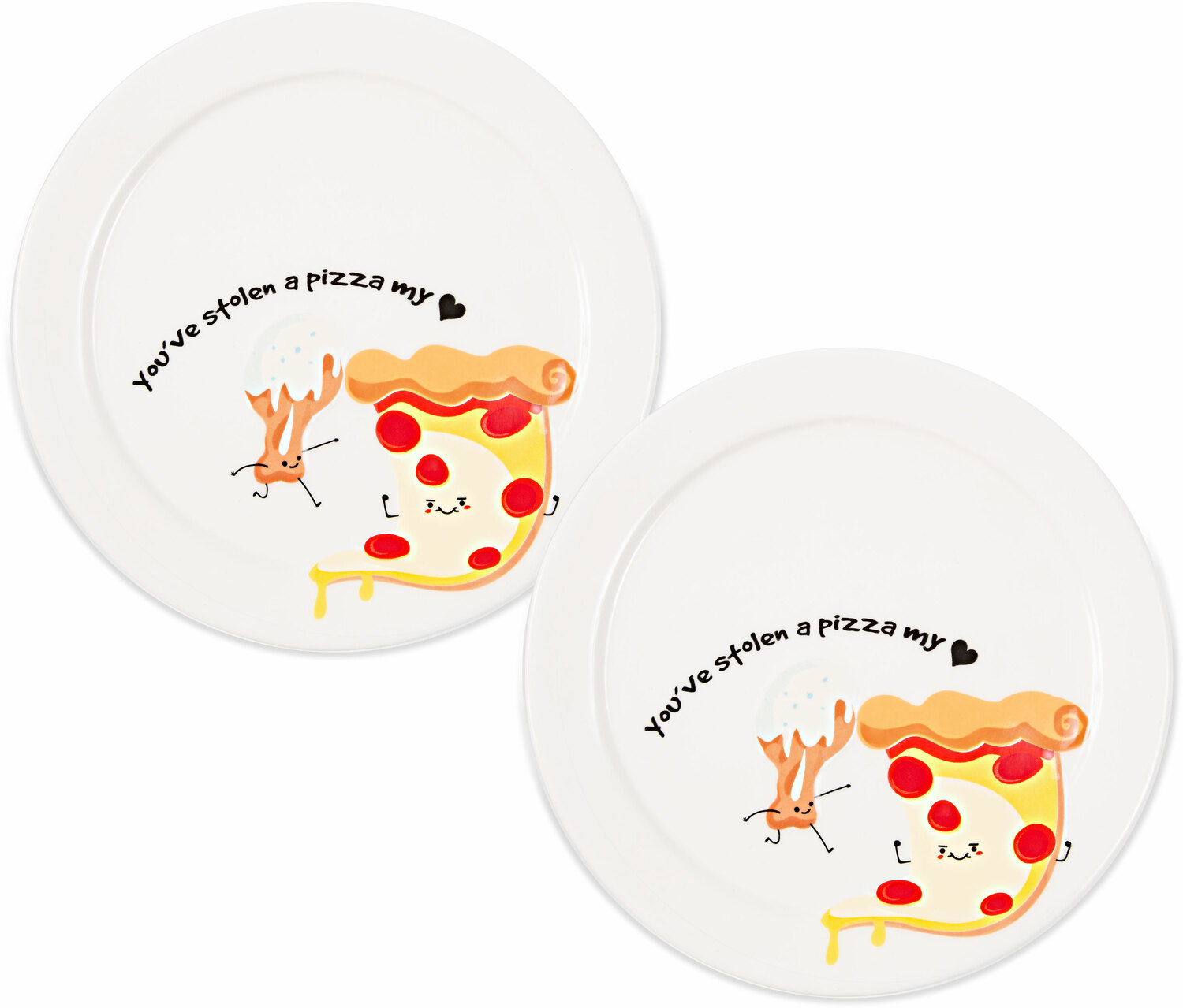 "Pizza My Heart  by Late Night Snacks - Pizza My Heart  - 7"" Appetizer Plates (Set of 2)"