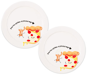 "Pizza My Heart  by Late Night Snacks - 7"" Appetizer Plates (Set of 2)"