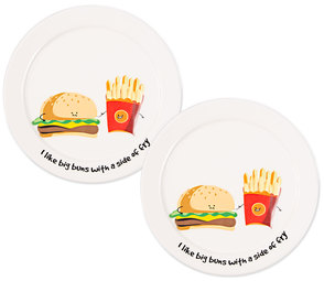"Big Buns by Late Night Snacks - 7"" Appetizer Plates (Set of 2)"