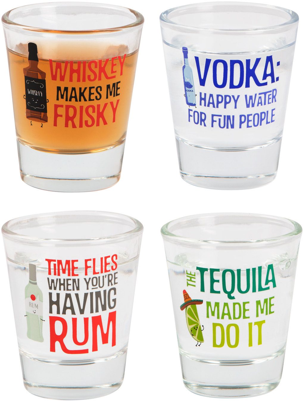 Shots! by Late Night Last Call - Shots! - 1.75 oz. Decorative Shot Glasses (Set of 4)
