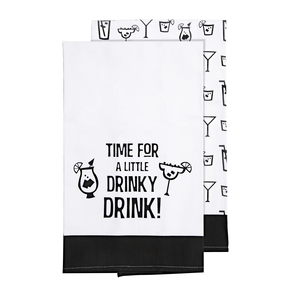 "Drinky Drink by Late Night Last Call - Tea Towel Gift Set (2 - 19.75"" x 27.5"")"
