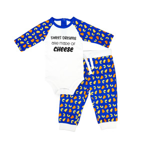 Sweet Dreams by Late Night Snacks - 6-12 Months Blue Bodysuit & Pants Set