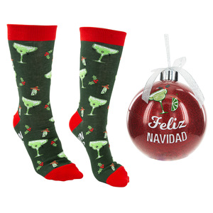 "Feliz Navidad by Late Night Last Call - 4"" Ornament  with Unisex Holiday Socks"