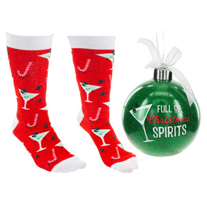"Christmas Spirits by Late Night Last Call - 4"" Ornament  with Unisex Holiday Socks"