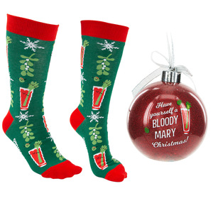 "Bloody Mary Christmas by Late Night Last Call - 4"" Ornament  with Unisex Holiday Socks"