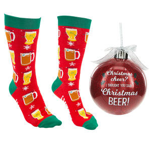 "Christmas Beer by Late Night Last Call - 4"" Ornament  with Unisex Holiday Socks"