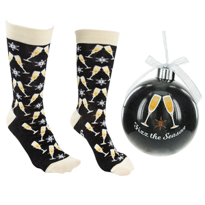"Fizz the Season by Late Night Last Call - 4"" Ornament  with Unisex Holiday Socks"