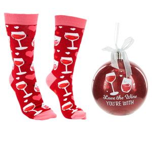 "The Wine You're With by Late Night Last Call - 4"" Ornament with Unisex Holiday Socks"