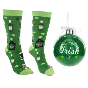 "Irish by Late Night Last Call - 4"" Ornament  with Unisex Holiday Socks"