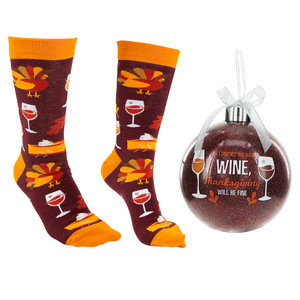 "Thanksgiving by Late Night Last Call - 4"" Ornament  with Unisex Holiday Socks"