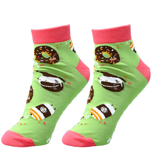 Donut and Coffee by Late Night Snacks - Cotton Blend Ankle Socks