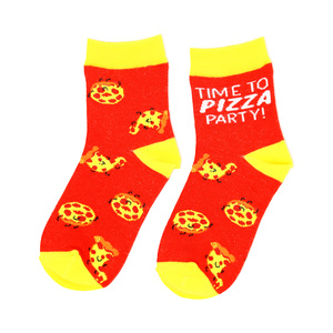 Pizza by Late Night Snacks - S/M Youth Cotton Blend Crew Socks