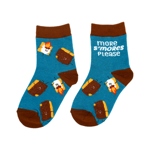 S'mores by Late Night Snacks - S/M Youth Cotton Blend Crew Socks