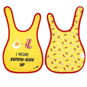 Eggs and Bacon by Late Night Snacks - Yellow Reversible Bib (6M - 3 Years)