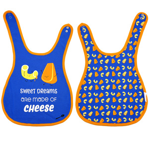 Mac n' Cheese by Late Night Snacks - Blue Reversible Bib (6M - 3 Years)