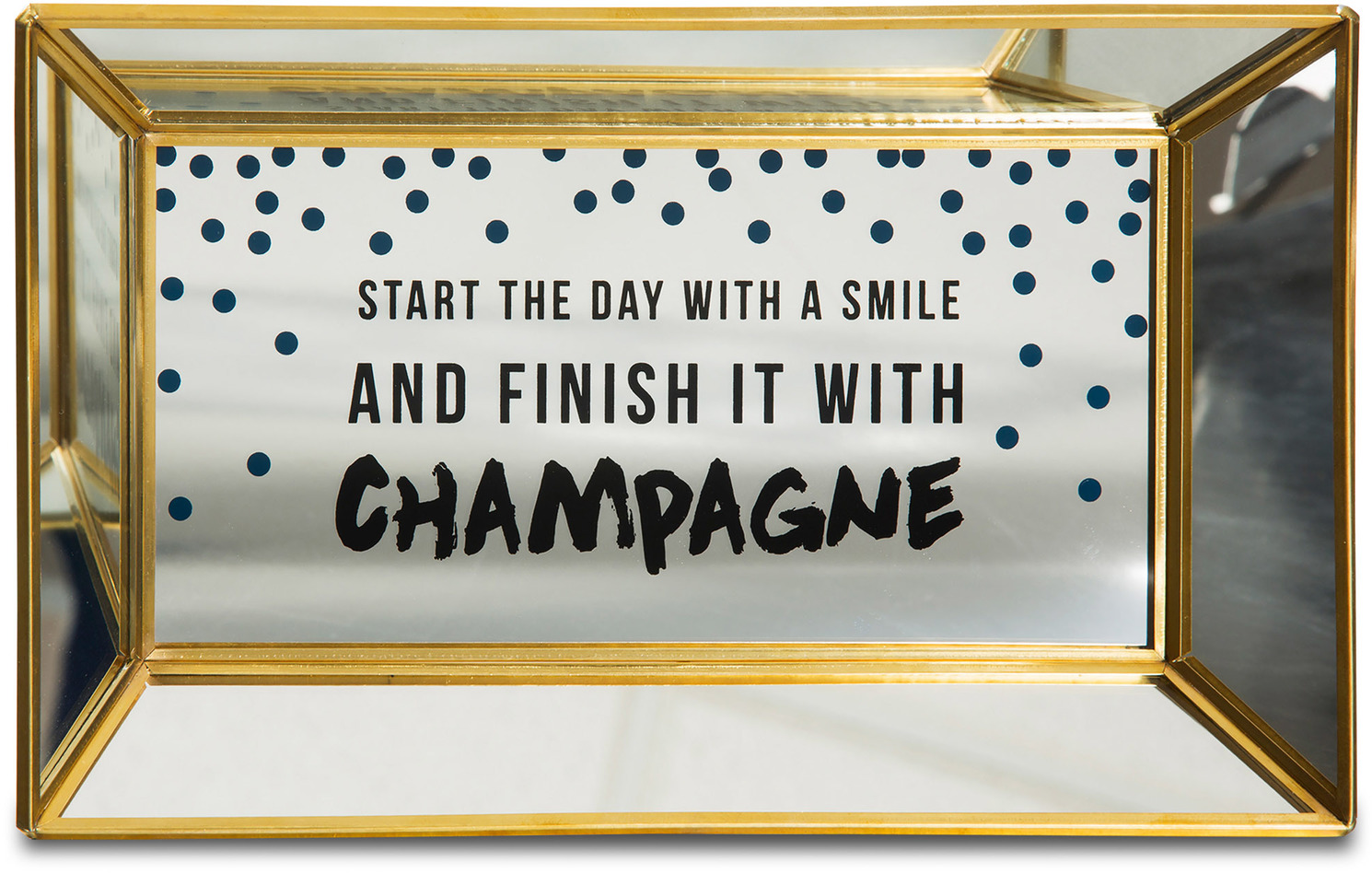 "Start the Day with a Smile by Girlfinds - Start the Day with a Smile - 10"" x 6"" x 1"" Vanity/Mirror Tray"