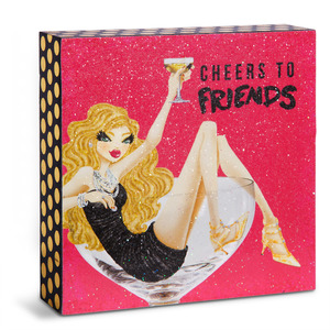 "Cheers to Friends by Girlfinds - 4"" x 4"" Plaque"