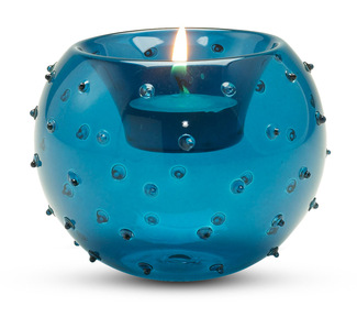 "Dotted Blue Candle Holder by Perfectly Paisley - 3.5"" Glass Candle Holder"