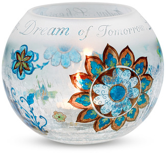 "Cherish, Dream, Live by Perfectly Paisley - 5"" Glass Rnd. Candle Holder"