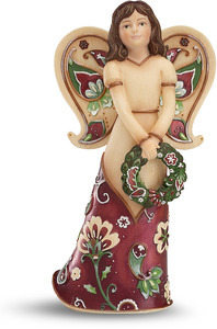 "Happy Holidays by Perfectly Paisley Holiday - 5.5"" Angel Holding Wreath"