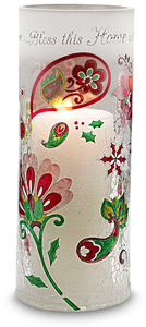 "Bless this Home by Perfectly Paisley Holiday - 10"" Cyl. Glass Candle Holder"
