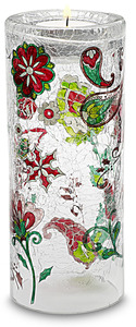 "Large Cylinder by Perfectly Paisley Holiday - 7"" Glass Tea Light Holder"