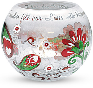 "Family by Perfectly Paisley Holiday - 4"" Round Glass Candle Holder"