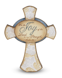 "Joy by Perfectly Paisley - 4.25"" Self Standing Cross"