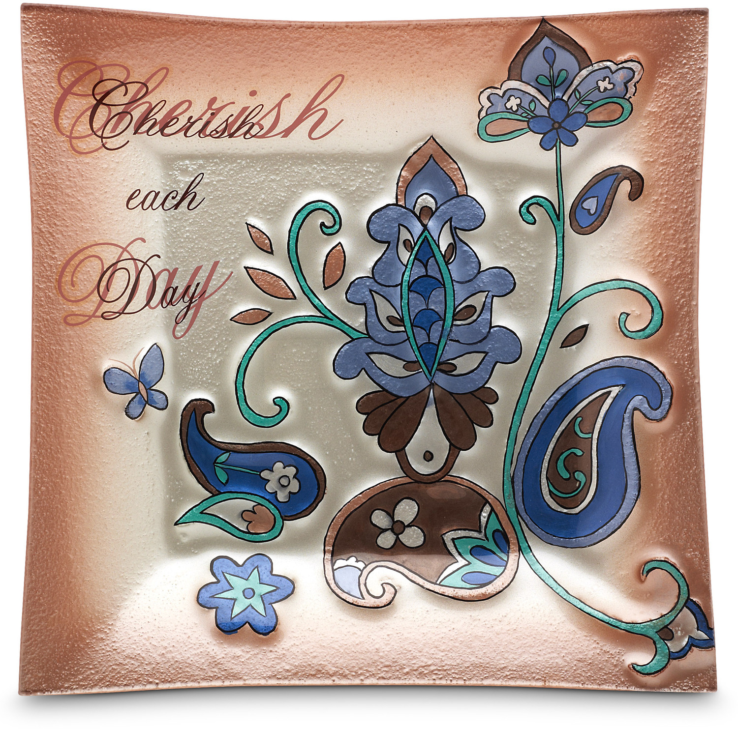 Cherish Each Day 10 Square Fused Glass Plate Perfectly Paisley Pavilion