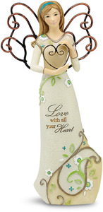 "Love by Perfectly Paisley - 6"" Angel Holding Heart"