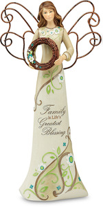 "Family by Perfectly Paisley - 12"" Angel Holding Wreath"