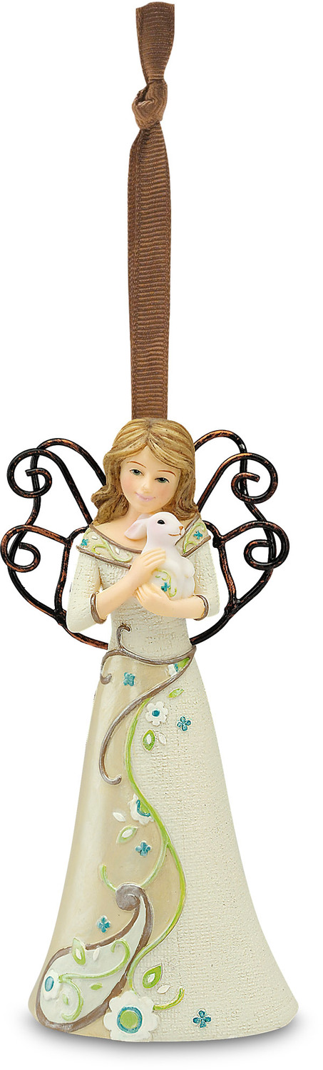 "Kindness by Perfectly Paisley - Kindness - 4.5"" Angel w/Bunny Ornament"