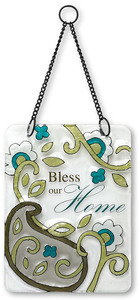 "Bless our Home by Perfectly Paisley - 6"" x 8"" Hanging Glass Plaque"