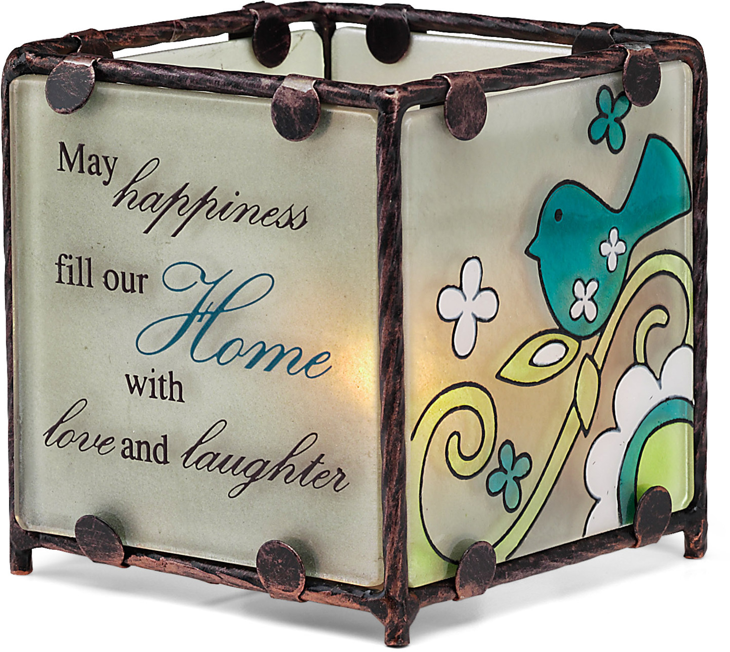 Home by Perfectly Paisley - <em>Home</em> - Glass Tealight Candle Holder -