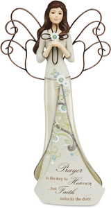 "Prayer by Perfectly Paisley - 12"" Angel Holding Cross"