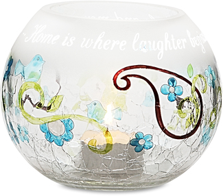 "Home by Perfectly Paisley - 5"" Round Glass Candle Holder"