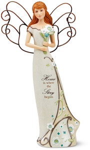 "Home Angel by Perfectly Paisley - 12"" Angel Holding Bouquet"
