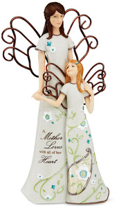 "Mother & Daughter Angel by Perfectly Paisley - 8"" Angel with Daughter"