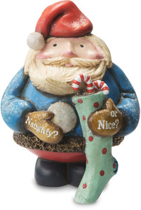 "Naughty or Nice? by Roly Poly Christmas - 4.75"" Santa with Stocking"