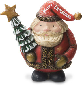 "Merry Christmas by Roly Poly Christmas - 5"" Santa Holding Tree"