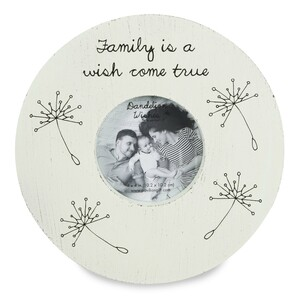 "Family by Dandelion Wishes - 8.75"" Round Frame (Holds 4"" x 4"" Photo)"