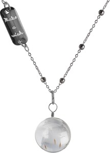 "Make a Wish by Dandelion Wishes - 29"" Sweater Necklace with Glass Wish Pendant"