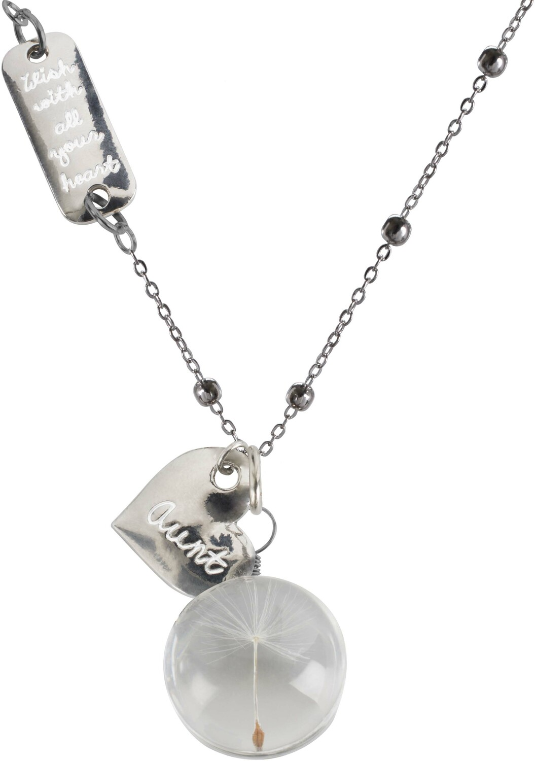 "Aunt by Dandelion Wishes - Aunt - 29"" Sweater Necklace with Glass Wish Pendant"