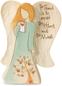 "Teacher by Heavenly Woods - 5"" Angel Holding Book"