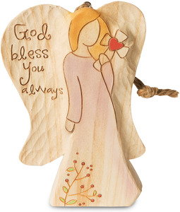 "God Bless You by Heavenly Woods - 4.5"" Angel Ornament Holding Cross"