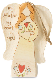 "Mother by Heavenly Woods - 4.5"" Angel & Flowers Ornament/Carving"
