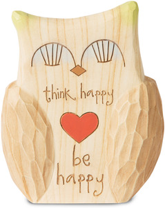 "Be Happy by Heavenly Woods - 4.5"" Painted Owl Figurine/Carving"
